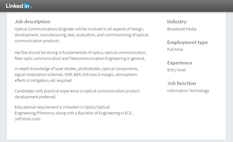 Job requirement for Optical Communications Engineer