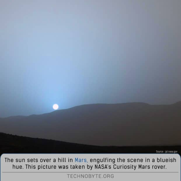sunset on planet mars