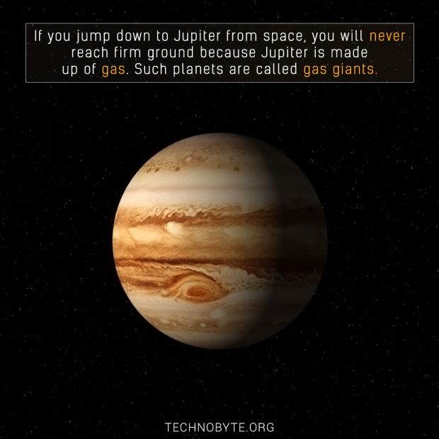 amazing fact - Jupiter doesn't have a defined land mass