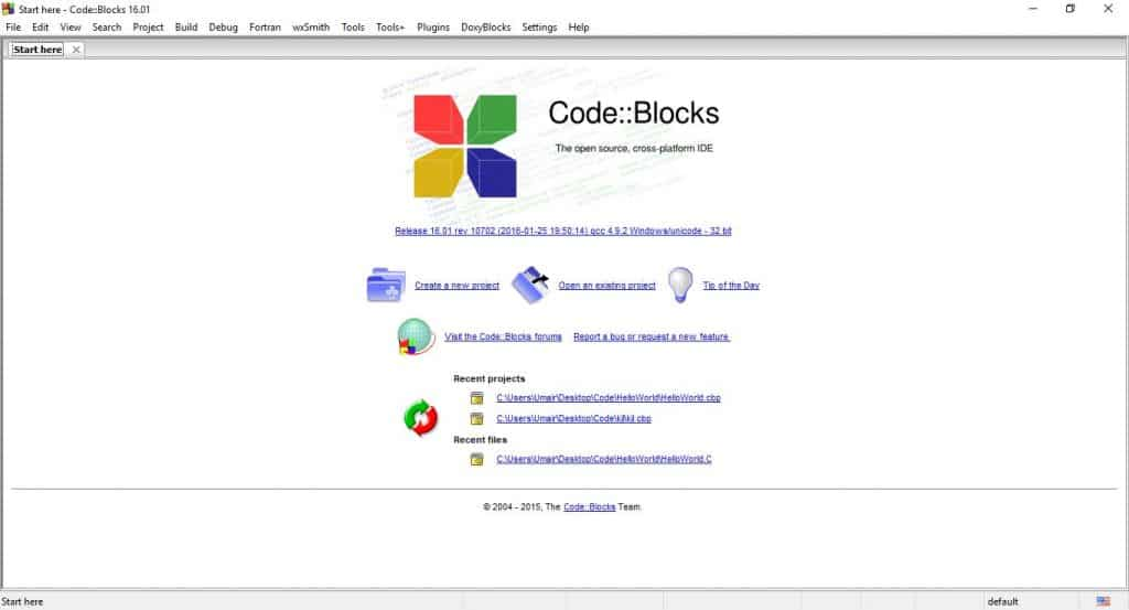Code blocks IDE environment familiarization - Intro screen or editor