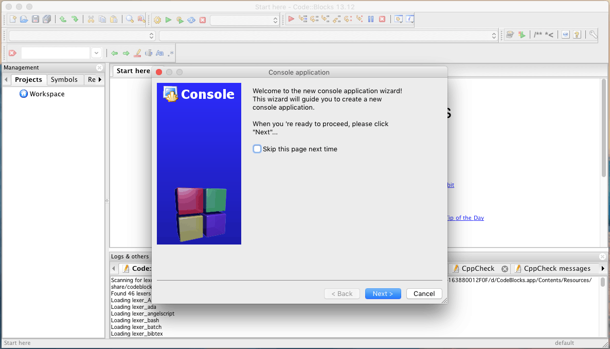 Install Code Blocks on Mac OS X and run your first C program