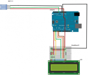 Interfacing DHT 11 with Arduino and LCD schematic