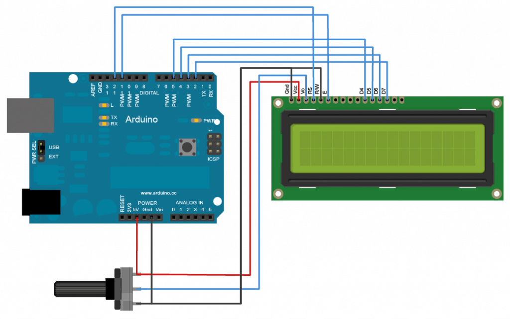 arduino connection with LCD circuit
