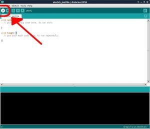 compile button in Arduino IDE toolbar