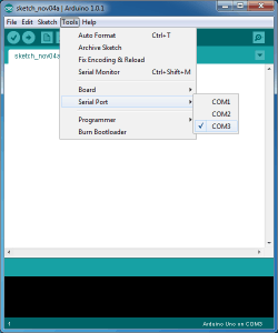 serial port selection in the IDE